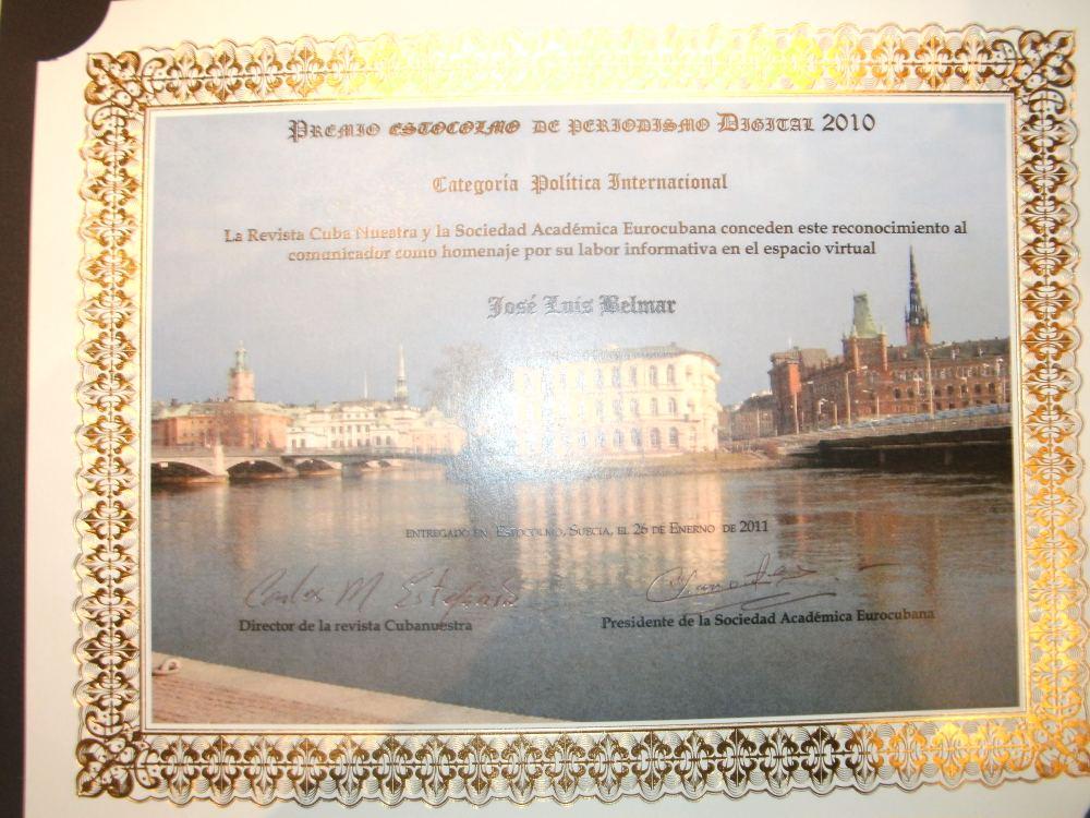 Una vez más: Premio Estocolmo de Periodismo Digital. Editorial Cuba Nuestra (www.cubanuestra.eu) 15 de Febrero de 2011  (6/6)